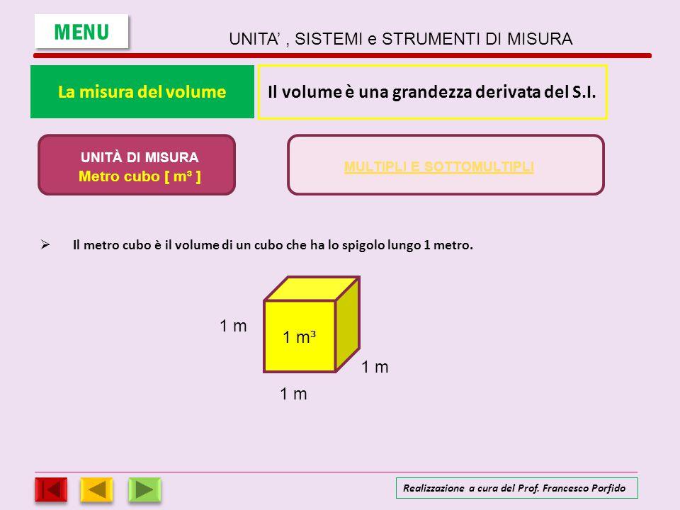 La misura del volume IIl metro cubo è il volume di un cubo che ha lo spigolo lungo 1 metro. Il volume è una grandezza derivata del S.I. UNITÀ DI MIS
