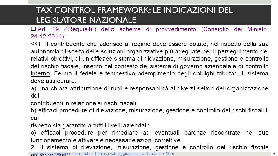 """TAX CONTROL FRAMEWORK: LE INDICAZIONI DEL LEGISLATORE NAZIONALE 4  Art. 19 (""""Requisiti"""") dello schema di provvedimento (Consiglio dei Ministri, 24.12"""