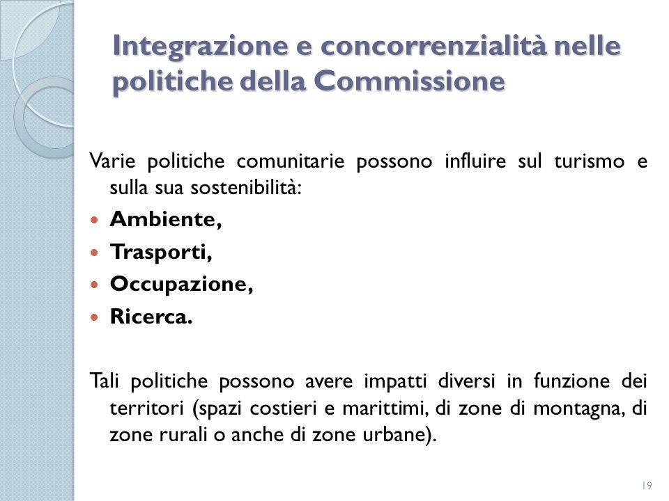 Integrazione e concorrenzialità nelle politiche della Commissione Varie politiche comunitarie possono influire sul turismo e sulla sua sostenibilità: