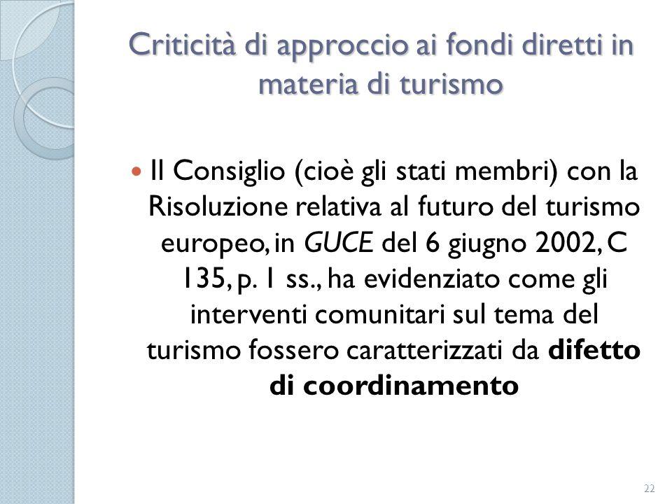 Criticità di approccio ai fondi diretti in materia di turismo Il Consiglio (cioè gli stati membri) con la Risoluzione relativa al futuro del turismo e