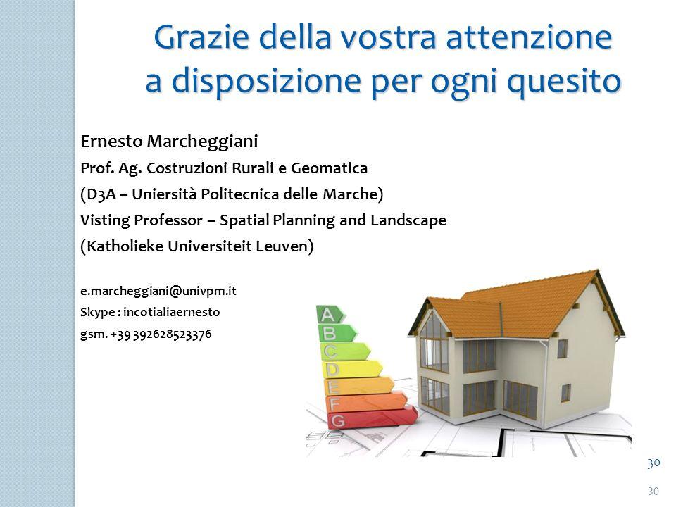 30 Grazie della vostra attenzione a disposizione per ogni quesito Ernesto Marcheggiani Prof. Ag. Costruzioni Rurali e Geomatica (D3A – Uniersità Polit