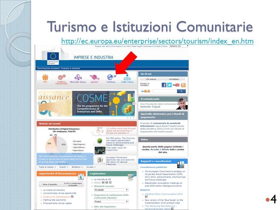 Turismo e Istituzioni Comunitarie http://ec.europa.eu/enterprise/sectors/tourism/index_en.htm 4