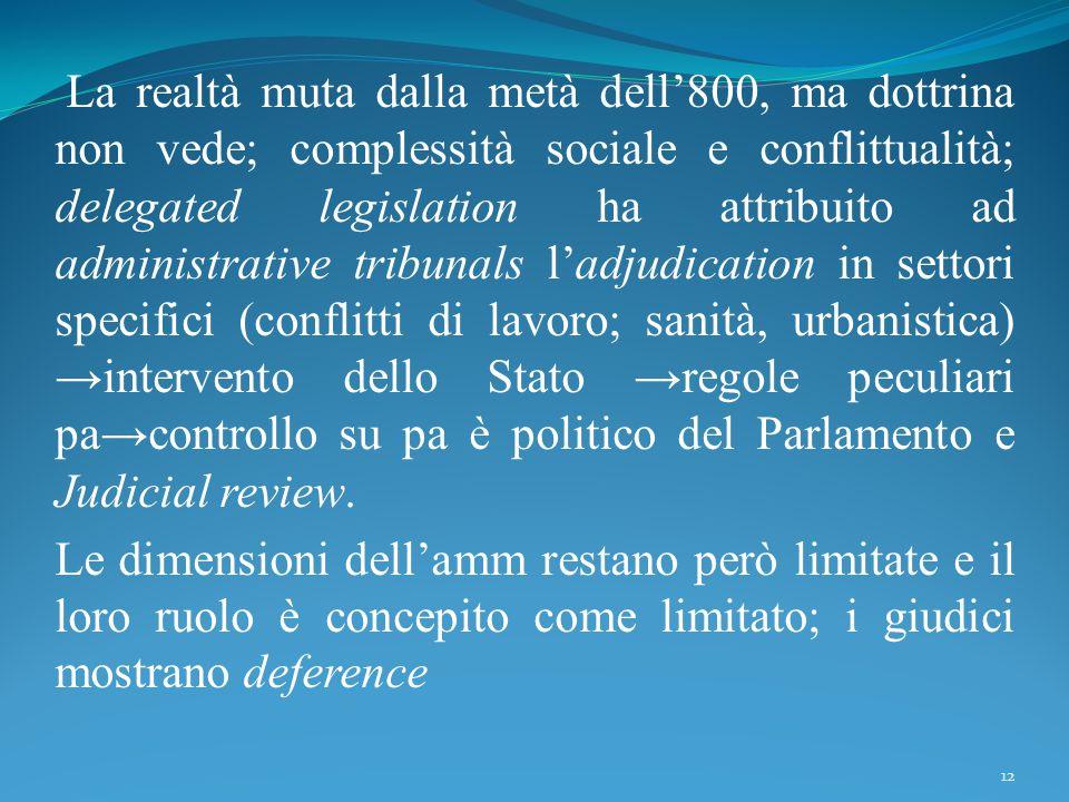 La realtà muta dalla metà dell'800, ma dottrina non vede; complessità sociale e conflittualità; delegated legislation ha attribuito ad administrative