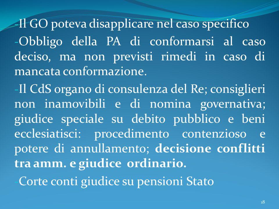 - Il GO poteva disapplicare nel caso specifico - Obbligo della PA di conformarsi al caso deciso, ma non previsti rimedi in caso di mancata conformazio