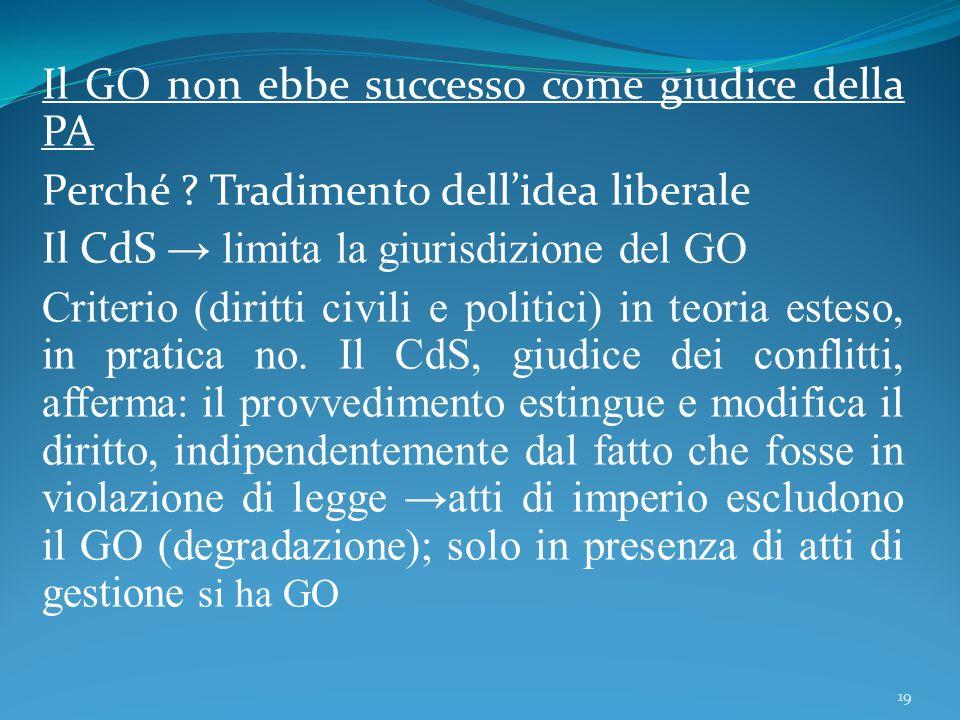 Il GO non ebbe successo come giudice della PA Perché ? Tradimento dell'idea liberale Il CdS → limita la giurisdizione del GO Criterio (diritti civili