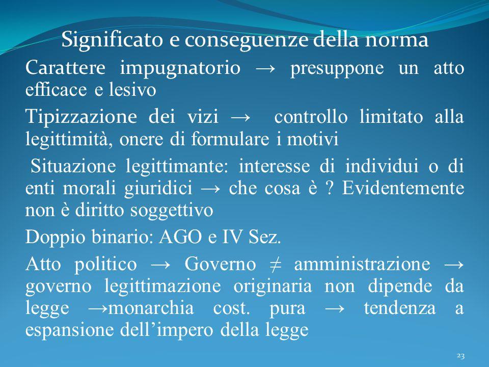 Significato e conseguenze della norma Carattere impugnatorio → presuppone un atto efficace e lesivo Tipizzazione dei vizi → controllo limitato alla le