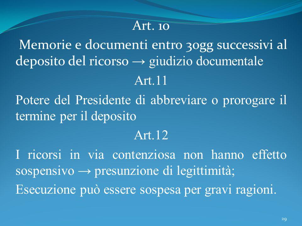Art. 10 Memorie e documenti entro 30gg successivi al deposito del ricorso → giudizio documentale Art.11 Potere del Presidente di abbreviare o prorogar