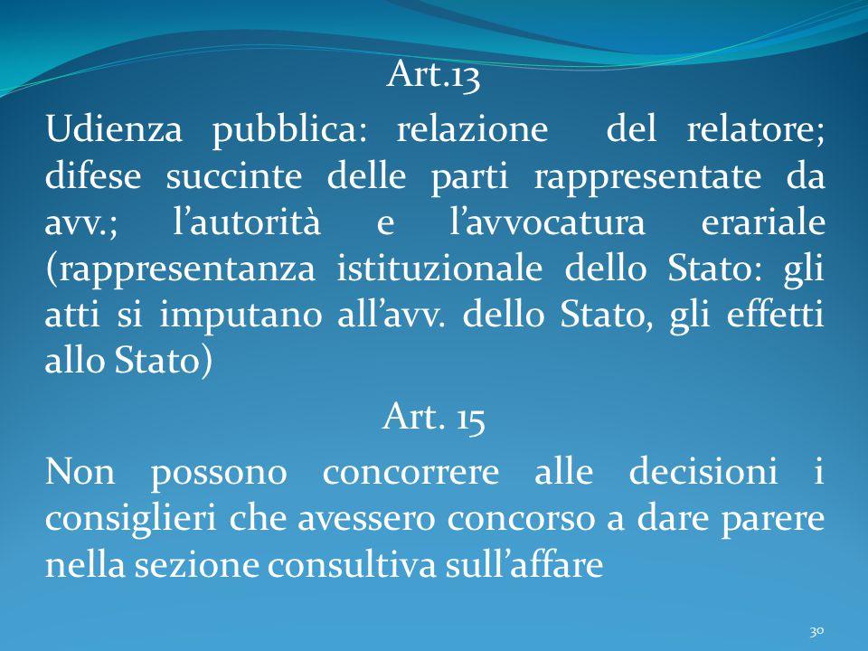 Art.13 Udienza pubblica: relazione del relatore; difese succinte delle parti rappresentate da avv.; l'autorità e l'avvocatura erariale (rappresentanza