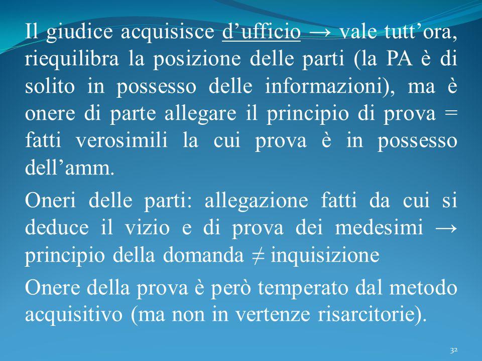 Il giudice acquisisce d'ufficio → vale tutt'ora, riequilibra la posizione delle parti (la PA è di solito in possesso delle informazioni), ma è onere d