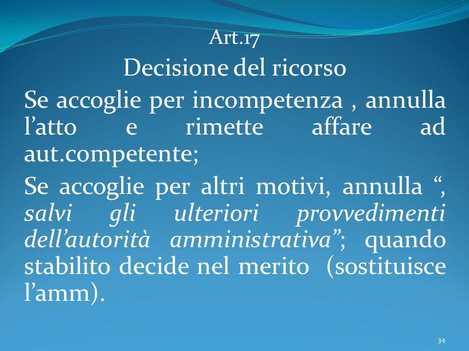 """Art.17 Decisione del ricorso Se accoglie per incompetenza, annulla l'atto e rimette affare ad aut.competente; Se accoglie per altri motivi, annulla """","""