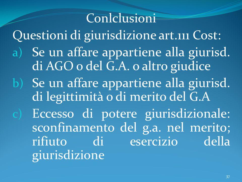 Conlclusioni Questioni di giurisdizione art.111 Cost: a) Se un affare appartiene alla giurisd. di AGO o del G.A. o altro giudice b) Se un affare appar