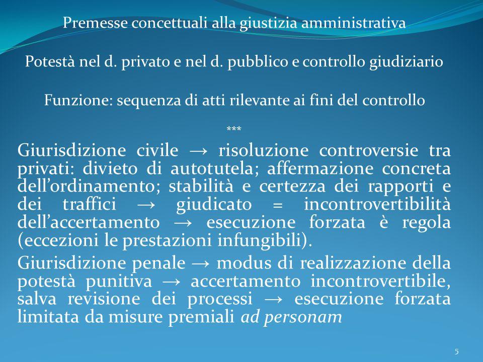 Premesse concettuali alla giustizia amministrativa Potestà nel d. privato e nel d. pubblico e controllo giudiziario Funzione: sequenza di atti rilevan