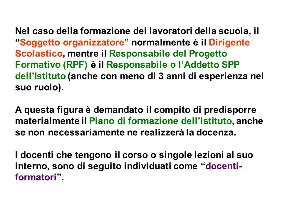"""Nel caso della formazione dei lavoratori della scuola, il """"Soggetto organizzatore"""" normalmente è il Dirigente Scolastico, mentre il Responsabile del P"""