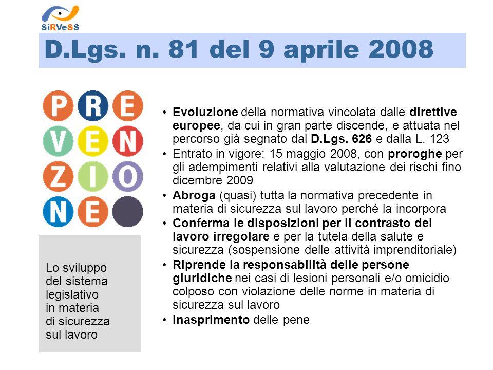 Lo sviluppo del sistema legislativo in materia di sicurezza sul lavoro SiRVeSS Evoluzione della normativa vincolata dalle direttive europee, da cui in