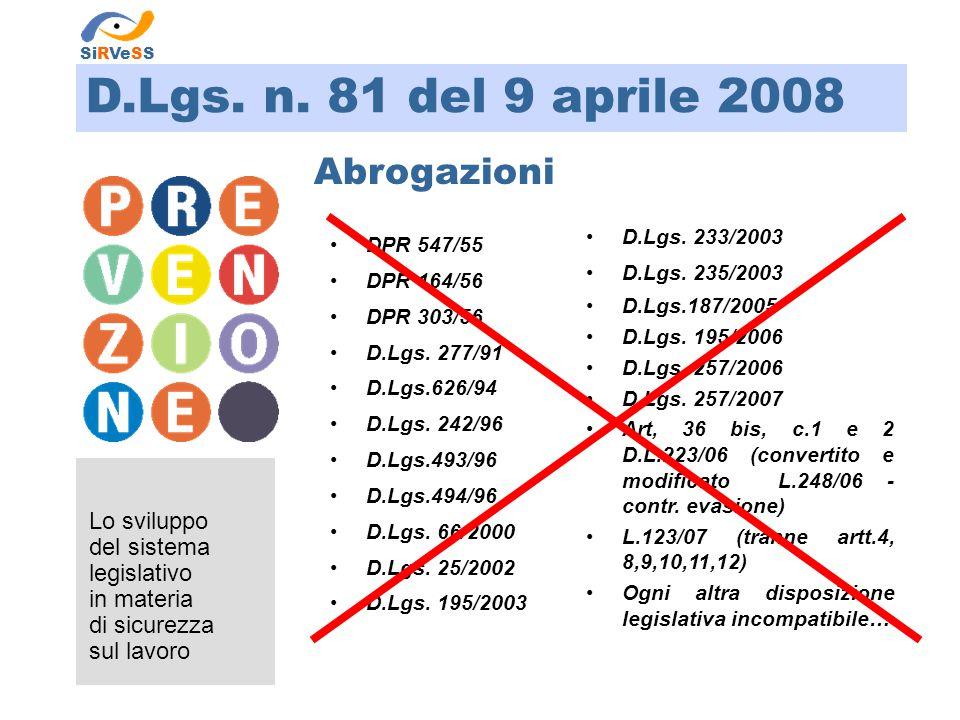 D.Lgs. n. 81 del 9 aprile 2008 Lo sviluppo del sistema legislativo in materia di sicurezza sul lavoro SiRVeSS Abrogazioni DPR 547/55 DPR 164/56 DPR 30