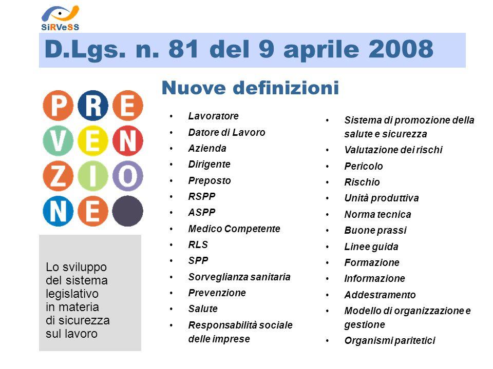 D.Lgs. n. 81 del 9 aprile 2008 Lo sviluppo del sistema legislativo in materia di sicurezza sul lavoro SiRVeSS Nuove definizioni Lavoratore Datore di L