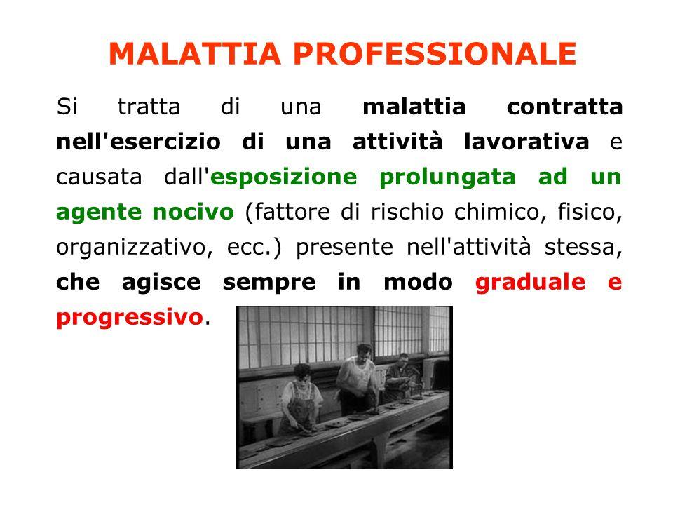 MALATTIA PROFESSIONALE Si tratta di una malattia contratta nell'esercizio di una attività lavorativa e causata dall'esposizione prolungata ad un agent