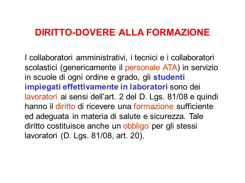 DIRITTO-DOVERE ALLA FORMAZIONE I collaboratori amministrativi, i tecnici e i collaboratori scolastici (genericamente il personale ATA) in servizio in