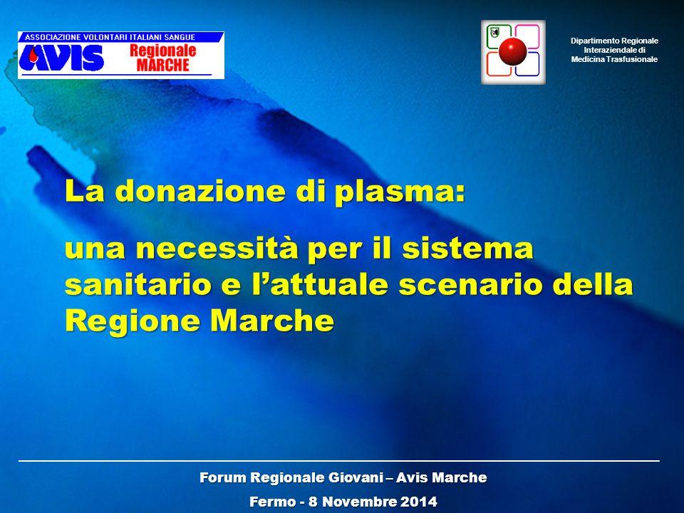 Forum Regionale Giovani – Avis Marche Fermo - 8 Novembre 2014 La donazione di plasma: una necessità per il sistema sanitario e l'attuale scenario della Regione Marche Dipartimento Regionale Interaziendale di Medicina Trasfusionale