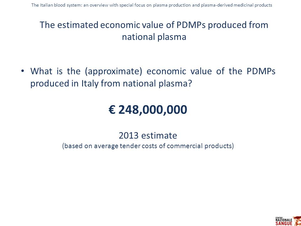 IL CONTROLLO STATISTICO DI PROCESSO What is the (approximate) economic value of the PDMPs produced in Italy from national plasma? € 248,000,000 2013 e