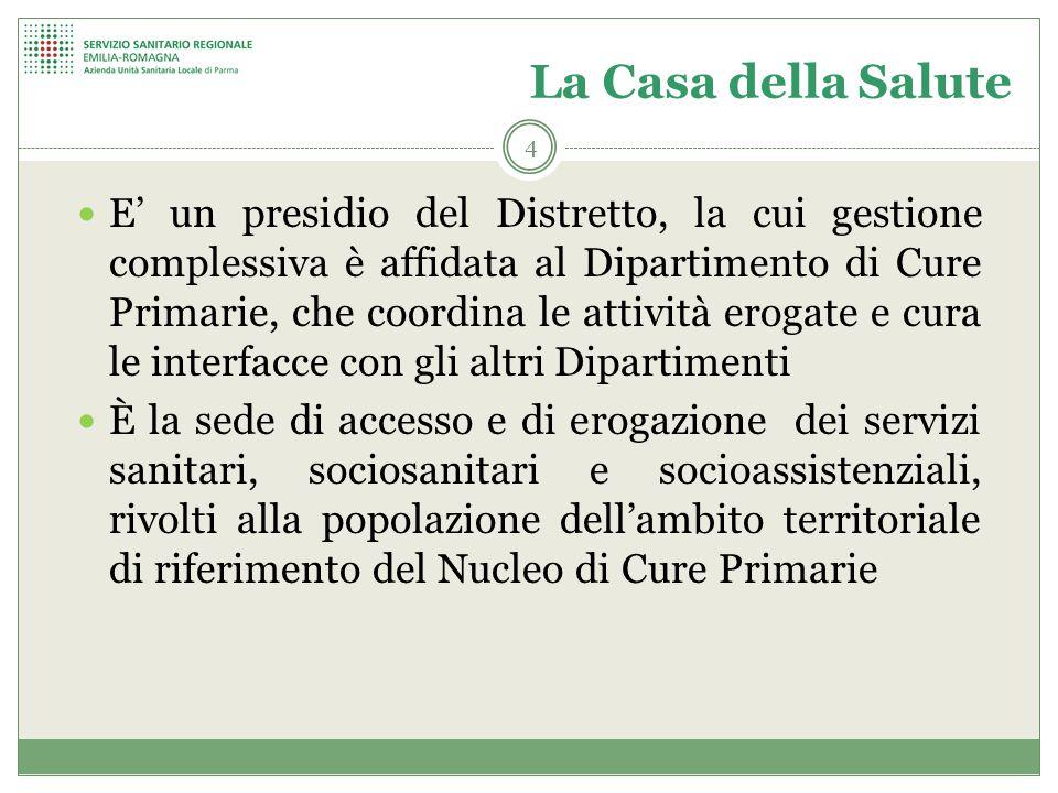 4 La Casa della Salute E' un presidio del Distretto, la cui gestione complessiva è affidata al Dipartimento di Cure Primarie, che coordina le attività