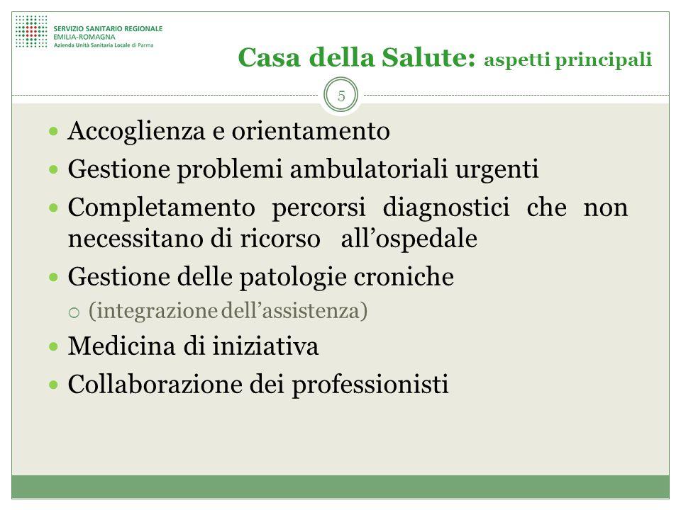 5 Casa della Salute: aspetti principali Accoglienza e orientamento Gestione problemi ambulatoriali urgenti Completamento percorsi diagnostici che non