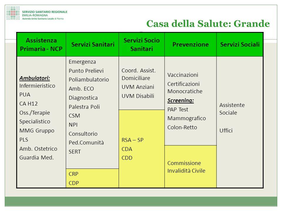 9 Casa della Salute: Grande Assistenza Primaria - NCP Servizi Sanitari Servizi Socio Sanitari PrevenzioneServizi Sociali Ambulatori: Infermieristico P