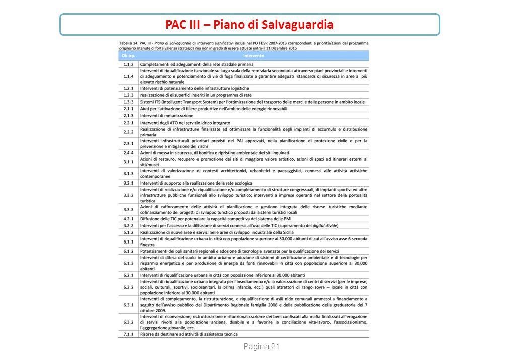 Pagina 21 PAC III – Piano di Salvaguardia