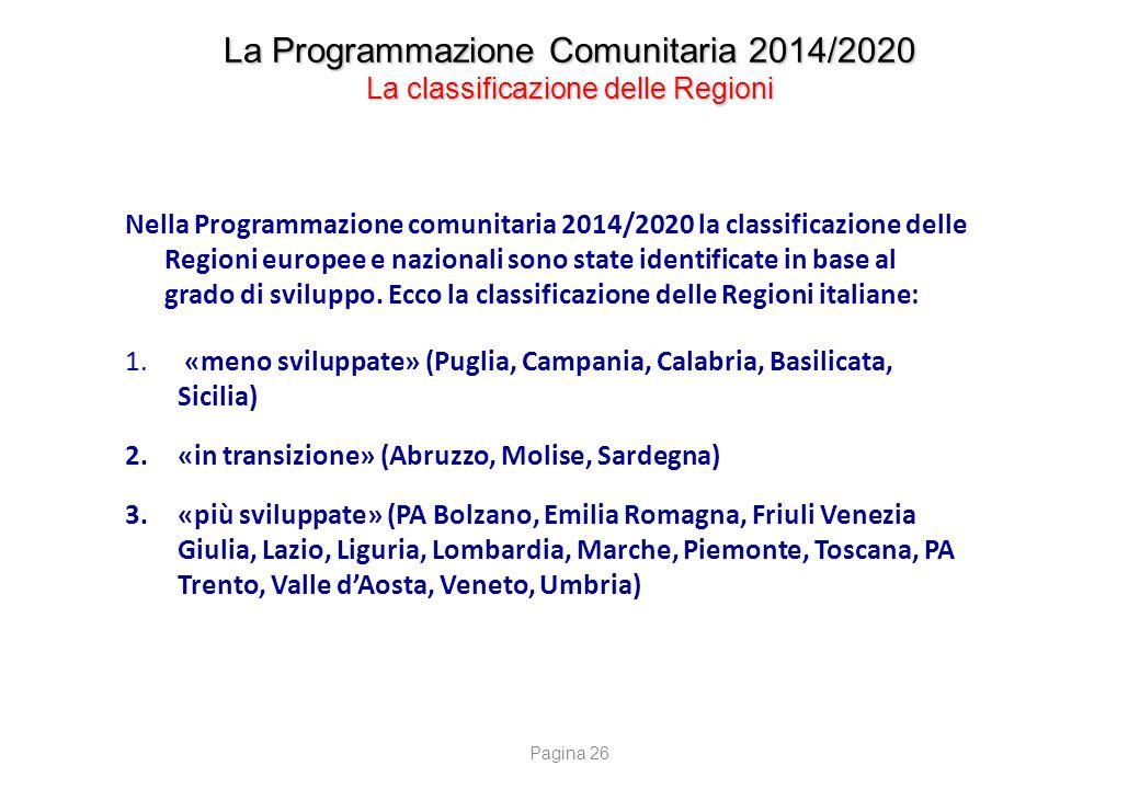 La Programmazione Comunitaria 2014/2020 La classificazione delle Regioni Nella Programmazione comunitaria 2014/2020 la classificazione delle Regioni e