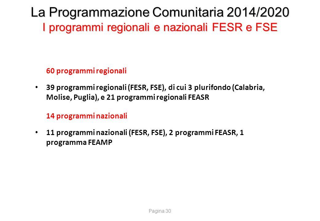 La Programmazione Comunitaria 2014/2020 I programmi regionali e nazionali FESR e FSE 60 programmi regionali 39 programmi regionali (FESR, FSE), di cui