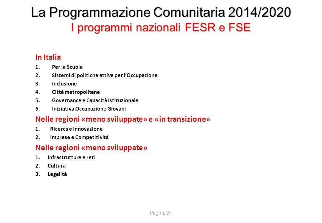 La Programmazione Comunitaria 2014/2020 I programmi nazionali FESR e FSE In Italia 1.Per la Scuola 2.Sistemi di politiche attive per l'Occupazione 3.I