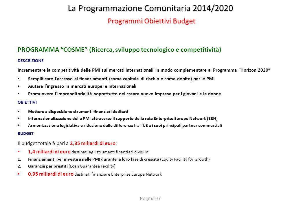 """La Programmazione Comunitaria 2014/2020 Programmi Obiettivi Budget PROGRAMMA """"COSME"""" (Ricerca, sviluppo tecnologico e competitività) DESCRIZIONE Incre"""