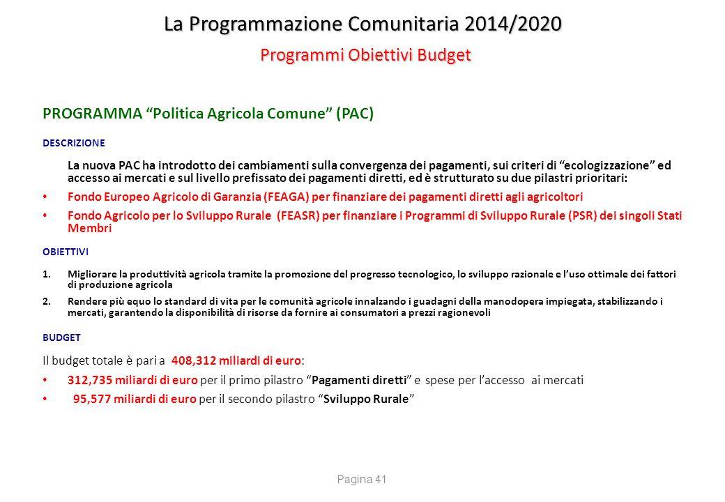 """La Programmazione Comunitaria 2014/2020 Programmi Obiettivi Budget PROGRAMMA """"Politica Agricola Comune"""" (PAC) DESCRIZIONE La nuova PAC ha introdotto d"""