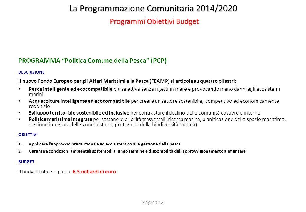 """La Programmazione Comunitaria 2014/2020 Programmi Obiettivi Budget PROGRAMMA """"Politica Comune della Pesca"""" (PCP) DESCRIZIONE Il nuovo Fondo Europeo pe"""