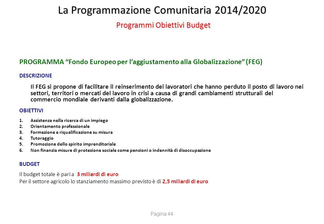 """La Programmazione Comunitaria 2014/2020 Programmi Obiettivi Budget PROGRAMMA """"Fondo Europeo per l'aggiustamento alla Globalizzazione"""" (FEG) DESCRIZION"""