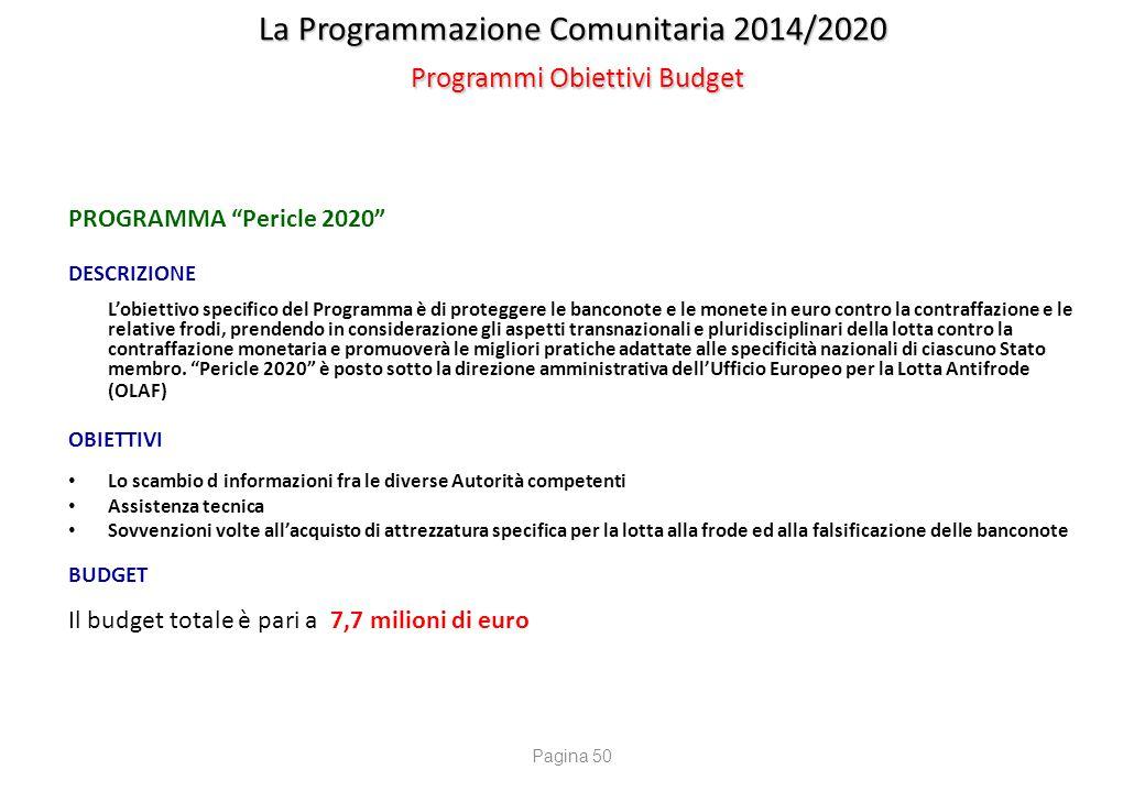 """La Programmazione Comunitaria 2014/2020 Programmi Obiettivi Budget PROGRAMMA """"Pericle 2020"""" DESCRIZIONE L'obiettivo specifico del Programma è di prote"""