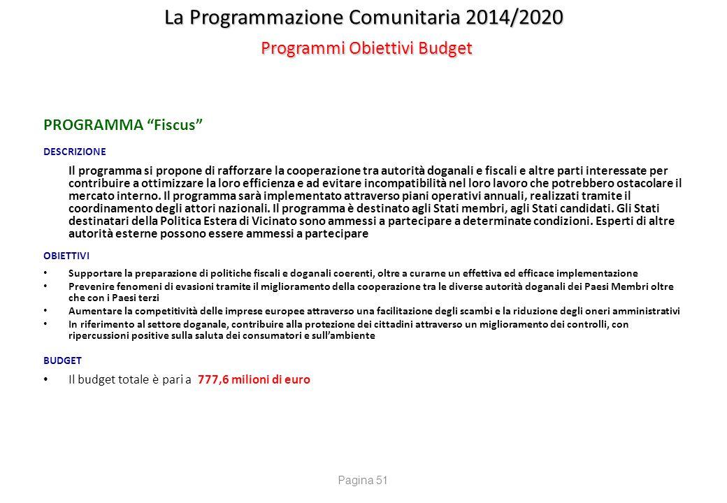 """La Programmazione Comunitaria 2014/2020 Programmi Obiettivi Budget PROGRAMMA """"Fiscus"""" DESCRIZIONE Il programma si propone di rafforzare la cooperazion"""