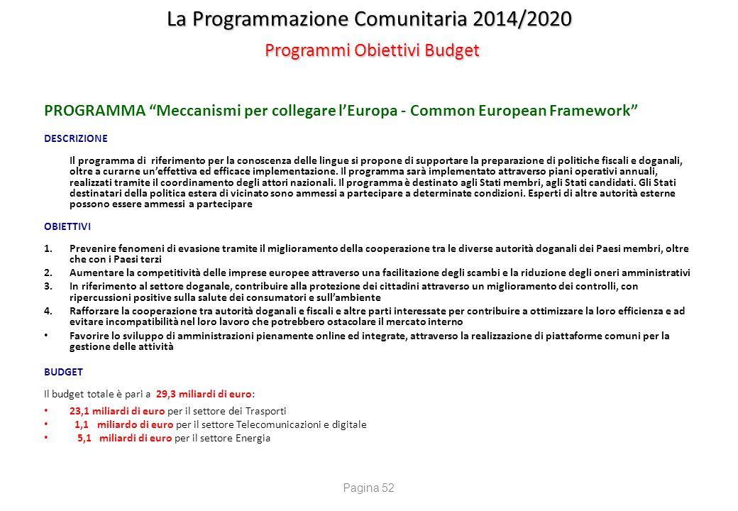 """La Programmazione Comunitaria 2014/2020 Programmi Obiettivi Budget PROGRAMMA """"Meccanismi per collegare l'Europa - Common European Framework"""" DESCRIZIO"""