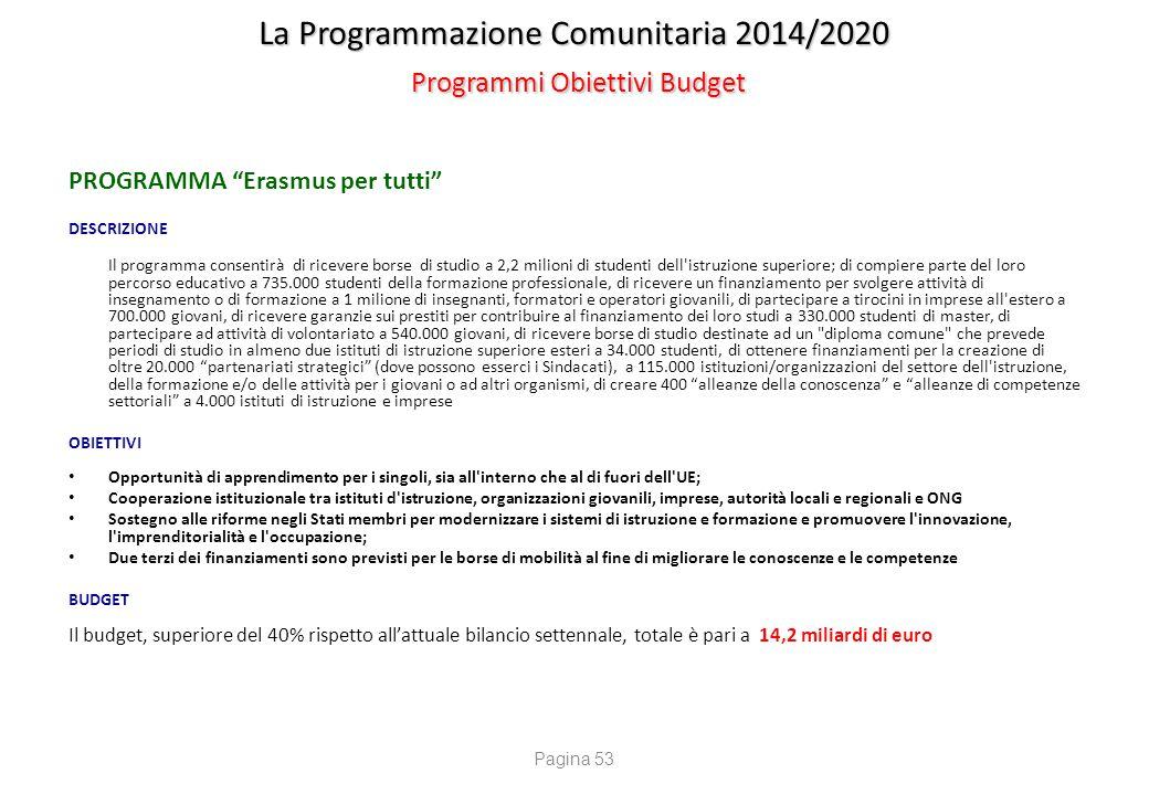 """La Programmazione Comunitaria 2014/2020 Programmi Obiettivi Budget PROGRAMMA """"Erasmus per tutti"""" DESCRIZIONE Il programma consentirà di ricevere borse"""