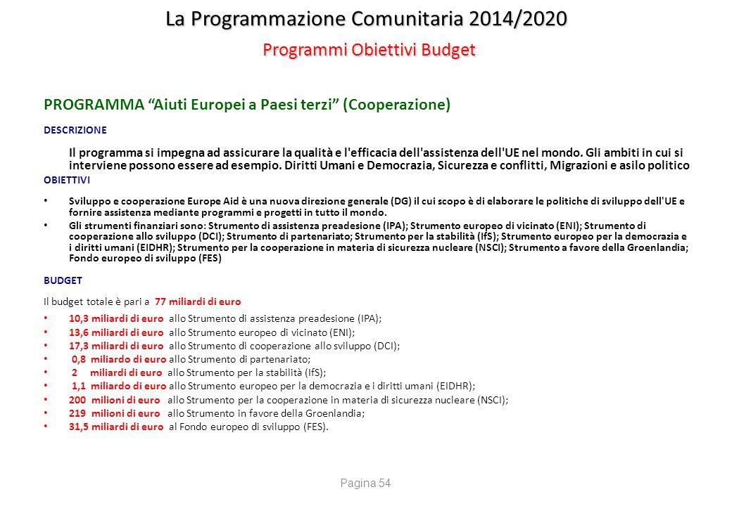 """La Programmazione Comunitaria 2014/2020 Programmi Obiettivi Budget PROGRAMMA """"Aiuti Europei a Paesi terzi"""" (Cooperazione) DESCRIZIONE Il programma si"""