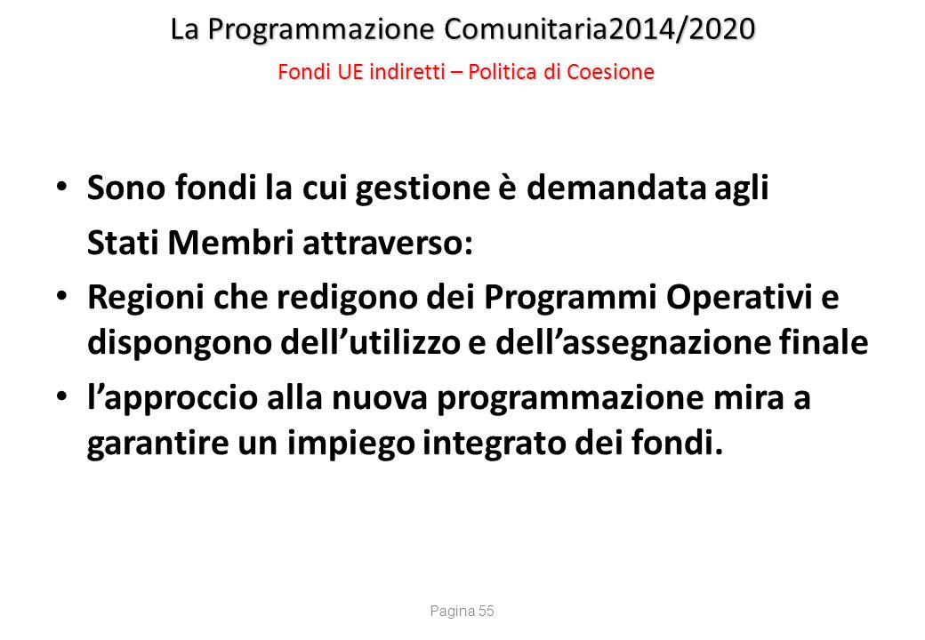La Programmazione Comunitaria2014/2020 Fondi UE indiretti – Politica di Coesione Sono fondi la cui gestione è demandata agli Stati Membri attraverso: