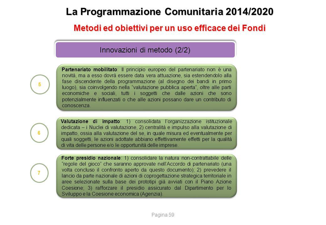 La Programmazione Comunitaria 2014/2020 Metodi ed obiettivi per un uso efficace dei Fondi Innovazioni di metodo (2/2) 5 Partenariato mobilitato: Il pr
