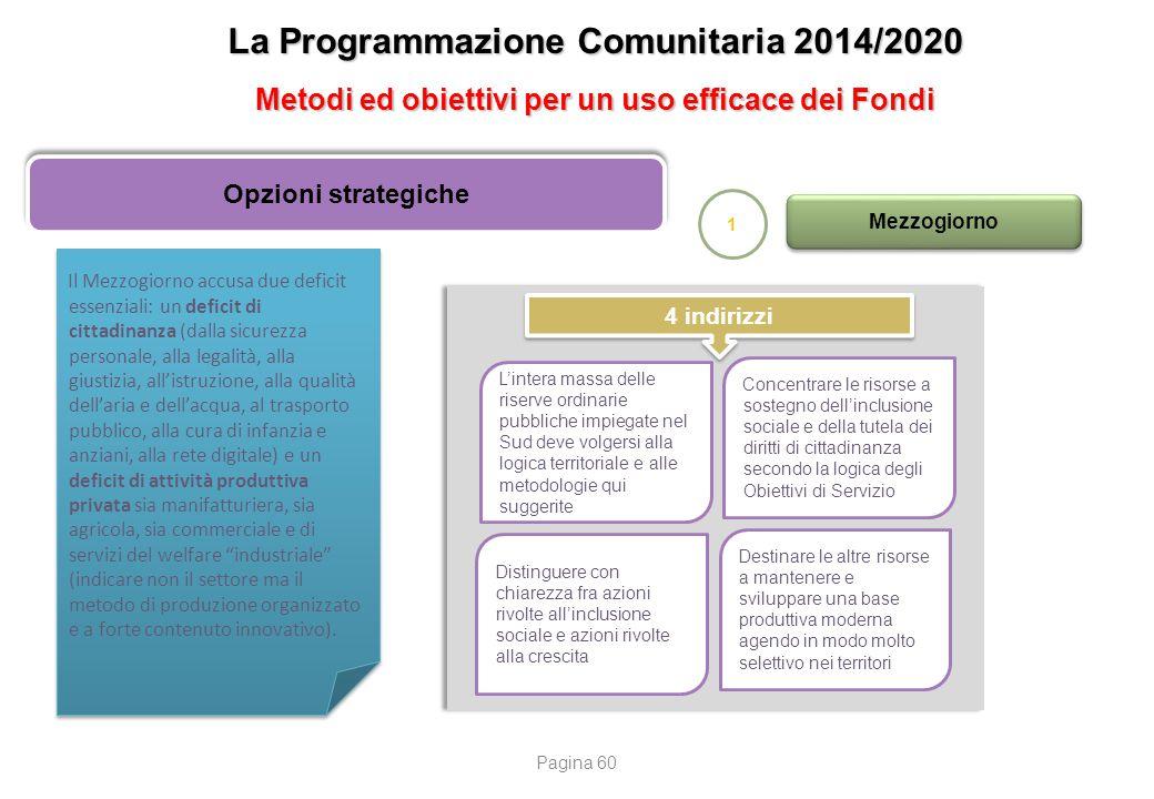 La Programmazione Comunitaria 2014/2020 Metodi ed obiettivi per un uso efficace dei Fondi Opzioni strategiche 1 Mezzogiorno Il Mezzogiorno accusa due