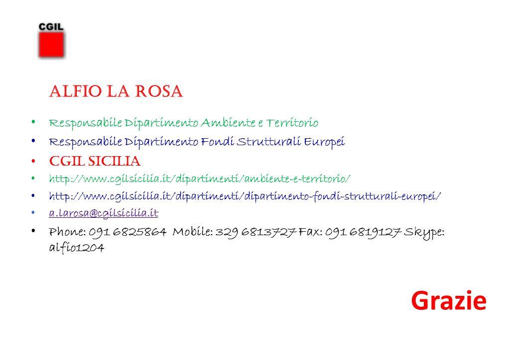 ALFIO LA ROSA Responsabile Dipartimento Ambiente e Territorio Responsabile Dipartimento Fondi Strutturali Europei CGIL SICILIA http://www.cgilsicilia.