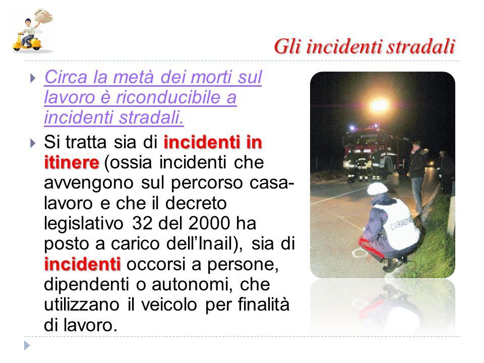 Gli incidenti stradali  Circa la metà dei morti sul lavoro è riconducibile a incidenti stradali. incidenti in itinere incidenti  Si tratta sia di in