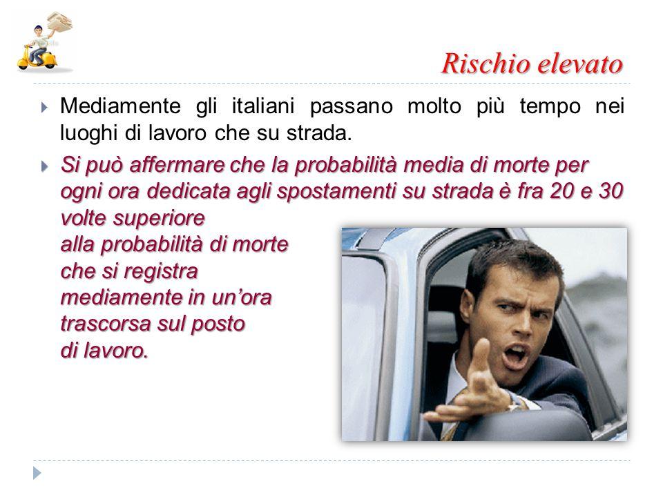 Rischio elevato  Mediamente gli italiani passano molto più tempo nei luoghi di lavoro che su strada.  Si può affermare che la probabilità media di m