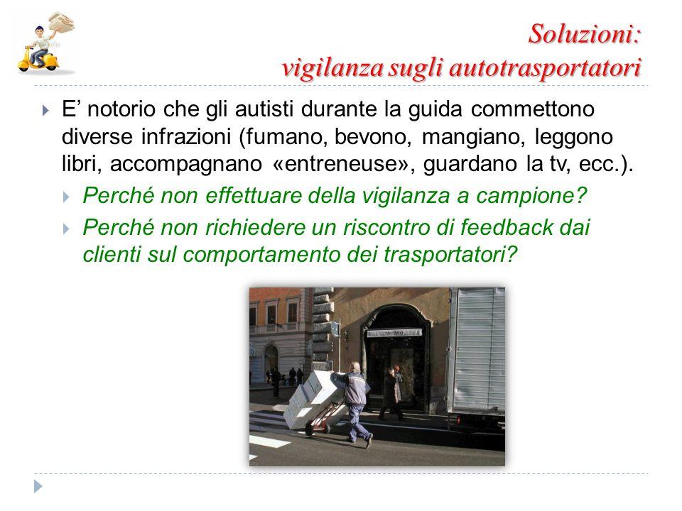 Soluzioni: vigilanza sugli autotrasportatori  E' notorio che gli autisti durante la guida commettono diverse infrazioni (fumano, bevono, mangiano, le