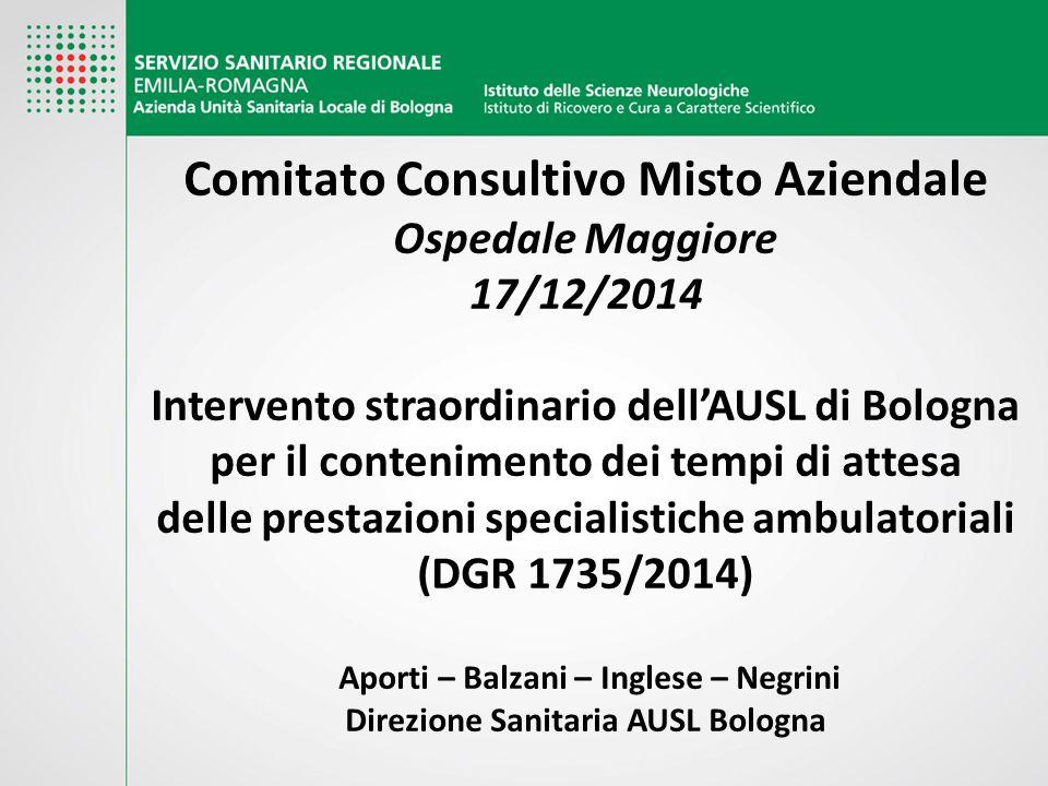 Comitato Consultivo Misto Aziendale Ospedale Maggiore 17/12/2014 Intervento straordinario dell'AUSL di Bologna per il contenimento dei tempi di attesa