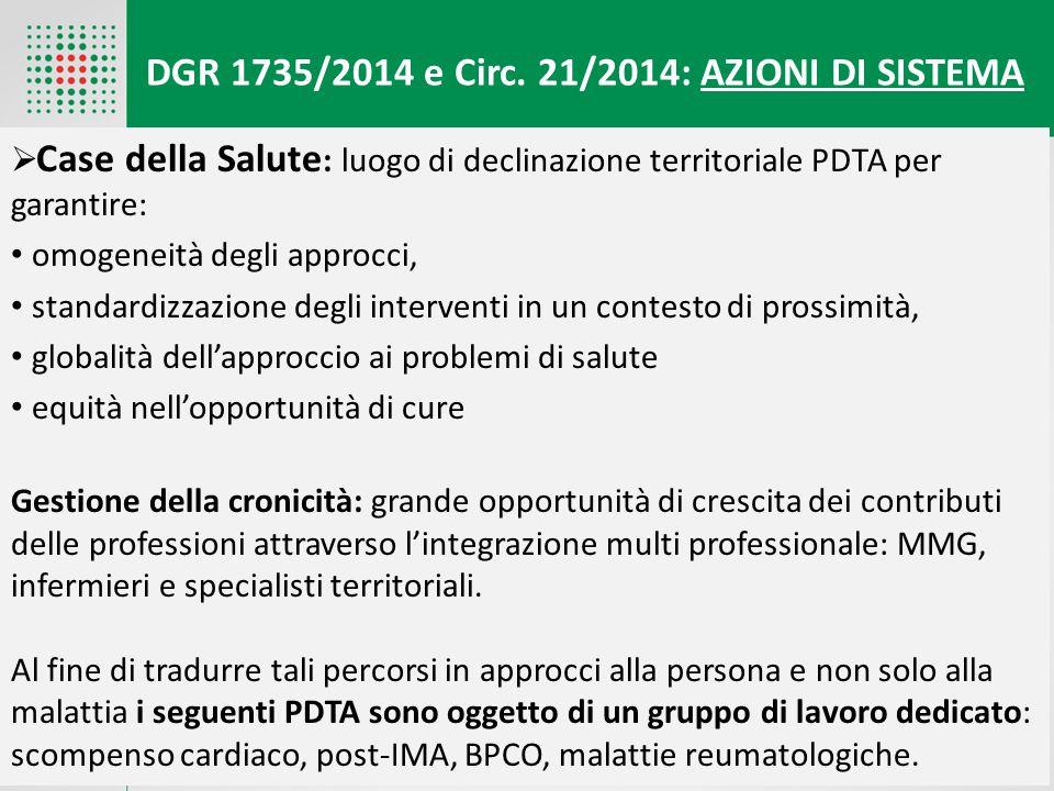 DGR 1735/2014 e Circ. 21/2014: AZIONI DI SISTEMA  Case della Salute : luogo di declinazione territoriale PDTA per garantire: omogeneità degli approcc