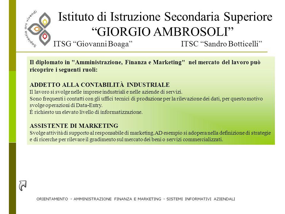 """Istituto di Istruzione Secondaria Superiore """"GIORGIO AMBROSOLI"""" ITSG """"Giovanni Boaga"""" ITSC """"Sandro Botticelli"""" Il diplomato in"""